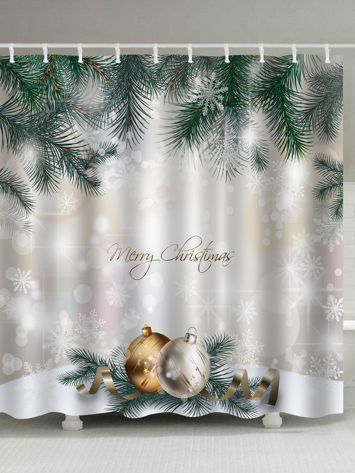 Christmas Pine Baubles Print Fabric Waterproof Bathroom Shower CurtainHOME<br><br>Size: W59 INCH * L71 INCH; Color: COLORMIX; Products Type: Shower Curtains; Materials: Polyester; Pattern: Ball,Letter; Style: Festival; Number of Hook Holes: W59 inch*L71 inch: 10; W71 inch*L71 inch: 12; W71 inch*L79 inch: 12; Package Contents: 1 x Shower Curtain  1 x Hooks (Set);