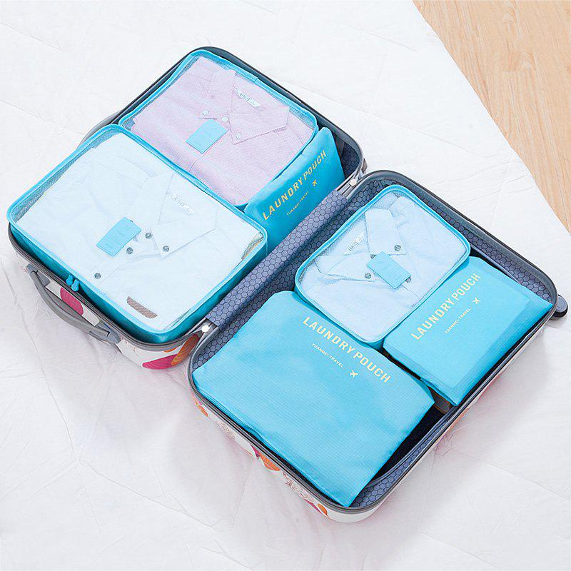 6 Pcs Polyester Travel Organizer Storage BagsHOME<br><br>Color: LAKE BLUE; Products Type: Storage Bags; Style: Casual; Material: Polyester; Package Contents: 6 x Storage Bag;