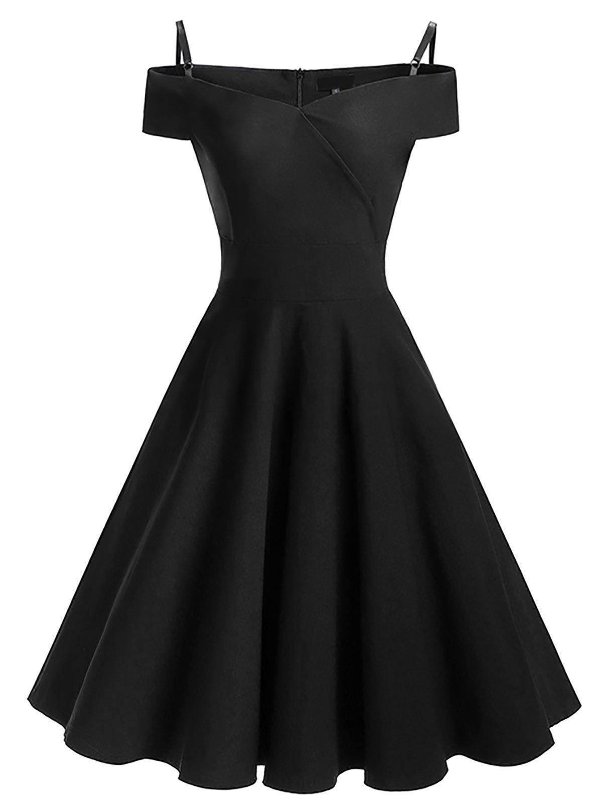 Vintage Cold Shoulder Pin Up Skater DressWOMEN<br><br>Size: M; Color: BLACK; Style: Vintage; Material: Cotton,Polyester; Silhouette: A-Line; Dresses Length: Knee-Length; Neckline: Spaghetti Strap; Sleeve Type: Cold Shoulder; Sleeve Length: Short Sleeves; Pattern Type: Solid; With Belt: No; Season: Fall,Spring; Weight: 0.4300kg; Package Contents: 1 x Dress;