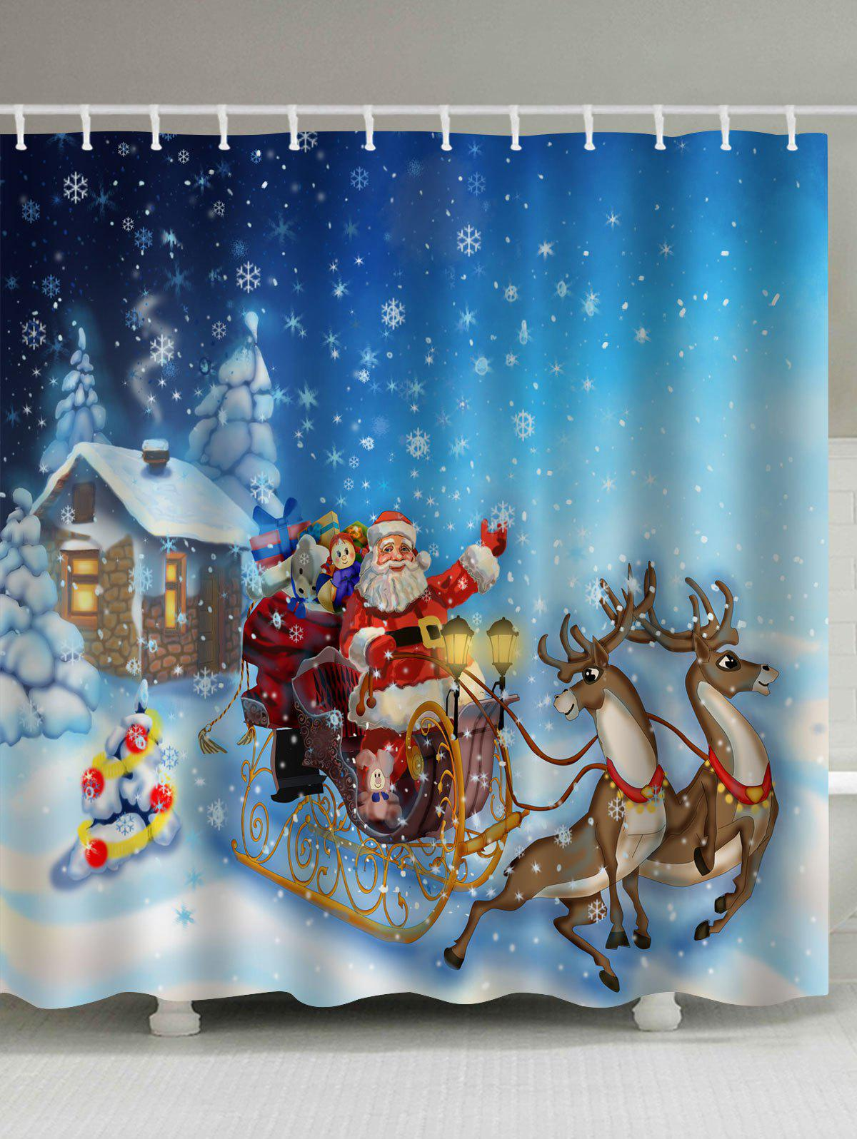Christmas Snowy Santa Sleigh Print Waterproof Bathroom Shower CurtainHOME<br><br>Size: W71 INCH * L71 INCH; Color: COLORMIX; Products Type: Shower Curtains; Materials: Polyester; Pattern: Animal,Santa Claus; Style: Festival; Number of Hook Holes: W59 inch*L71 inch: 10; W71 inch*L71 inch: 12; W71 inch*L79 inch: 12; Package Contents: 1 x Shower Curtain 1 x Hooks (Set);