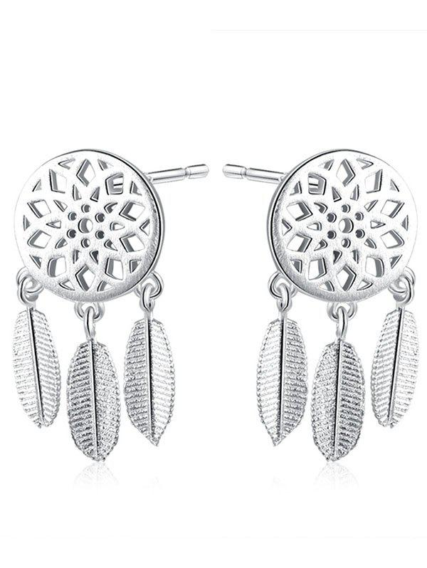 Dream Catcher Feather Sterling Silver EarringsJEWELRY<br><br>Color: SILVER; Earring Type: Stud Earrings; Gender: For Women; Metal Type: Silver; Style: Trendy; Shape/Pattern: Round; Length: 2.1CM; Weight: 0.0440kg; Package Contents: 1 x Earring (Pair);