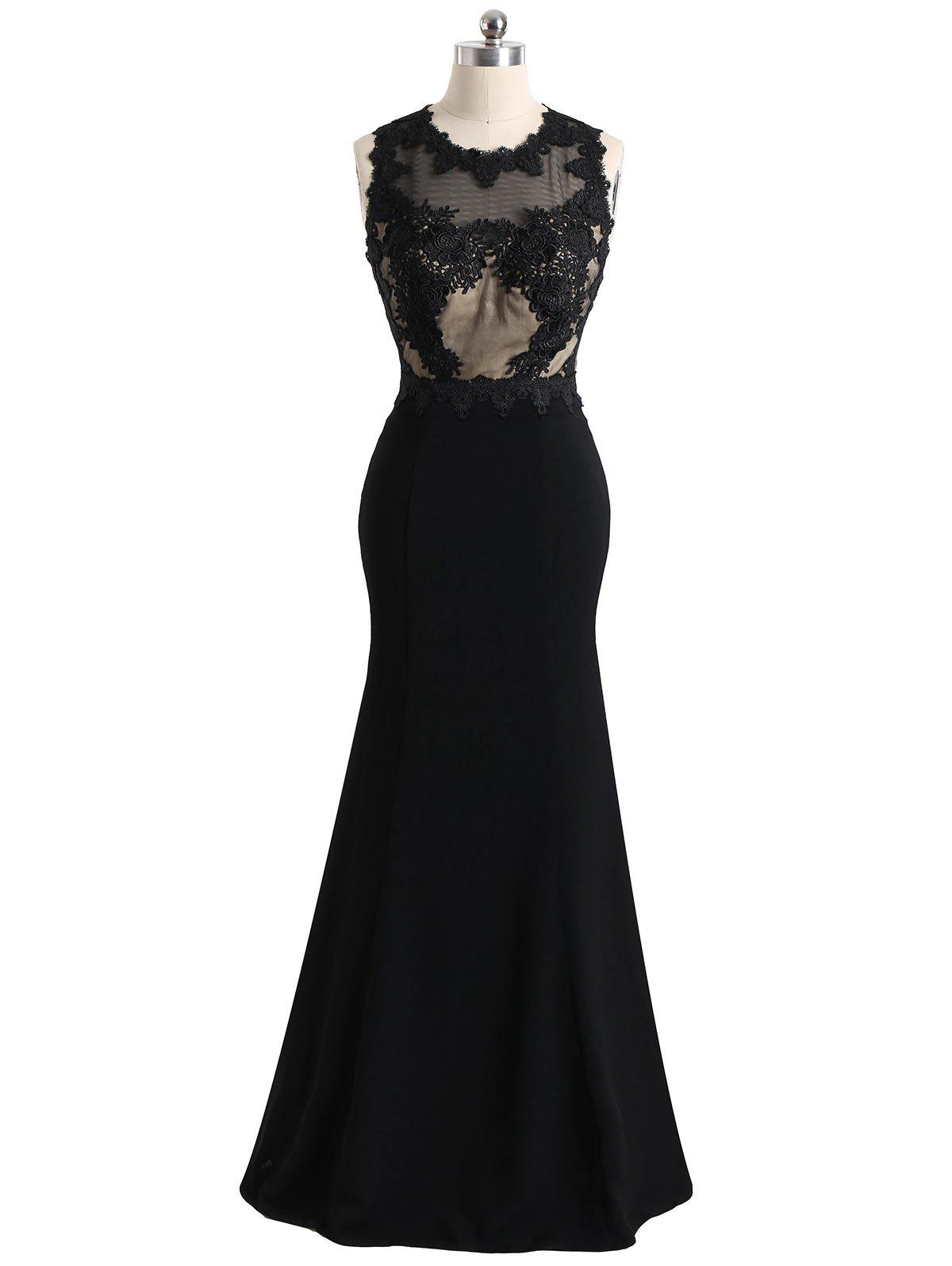 Buy Mesh Panel Floral Lace Maxi Formal Evening Dress