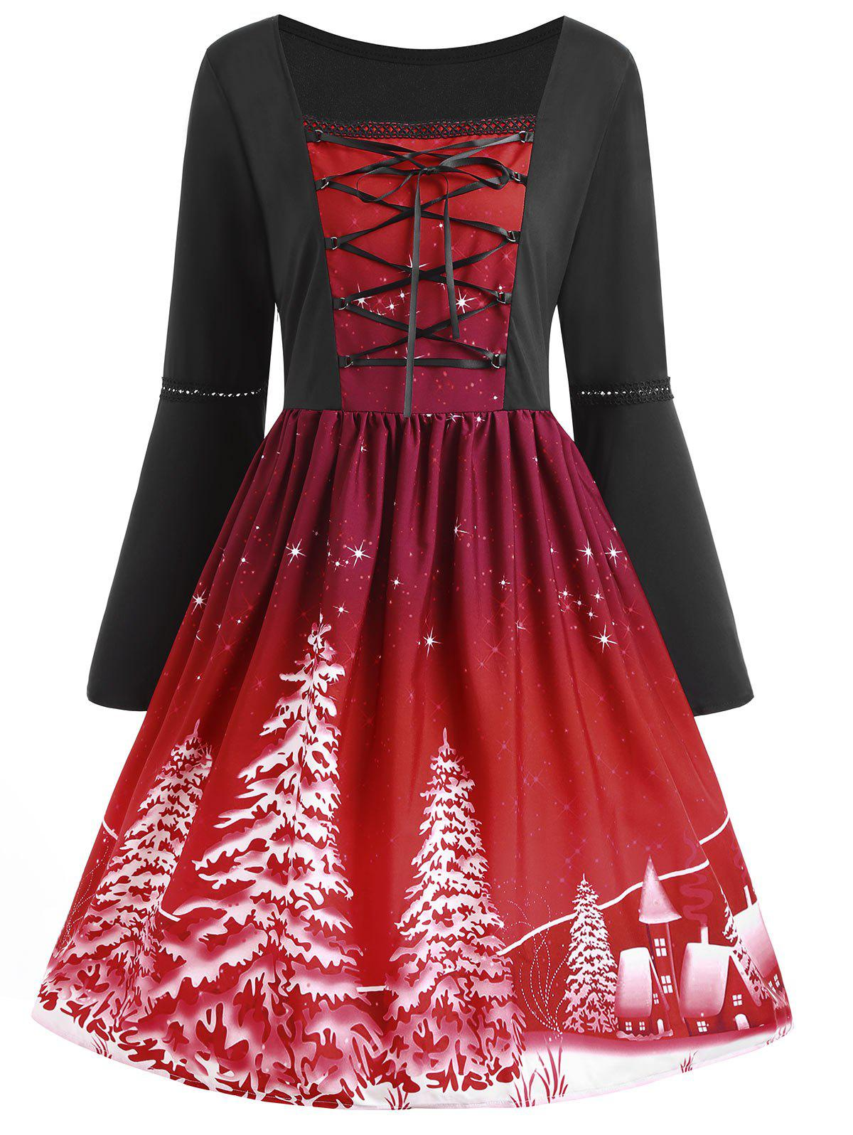 Christmas Tree Print Plus Size Lace Up DressWOMEN<br><br>Size: 4XL; Color: WINE RED; Style: Vintage; Material: Cotton,Polyester; Silhouette: A-Line; Dresses Length: Knee-Length; Neckline: Square Collar; Sleeve Type: Flare Sleeve; Sleeve Length: Long Sleeves; Embellishment: Criss-Cross,Lace; Pattern Type: Plant; With Belt: No; Season: Fall,Spring; Weight: 0.3200kg; Package Contents: 1 x Dress;