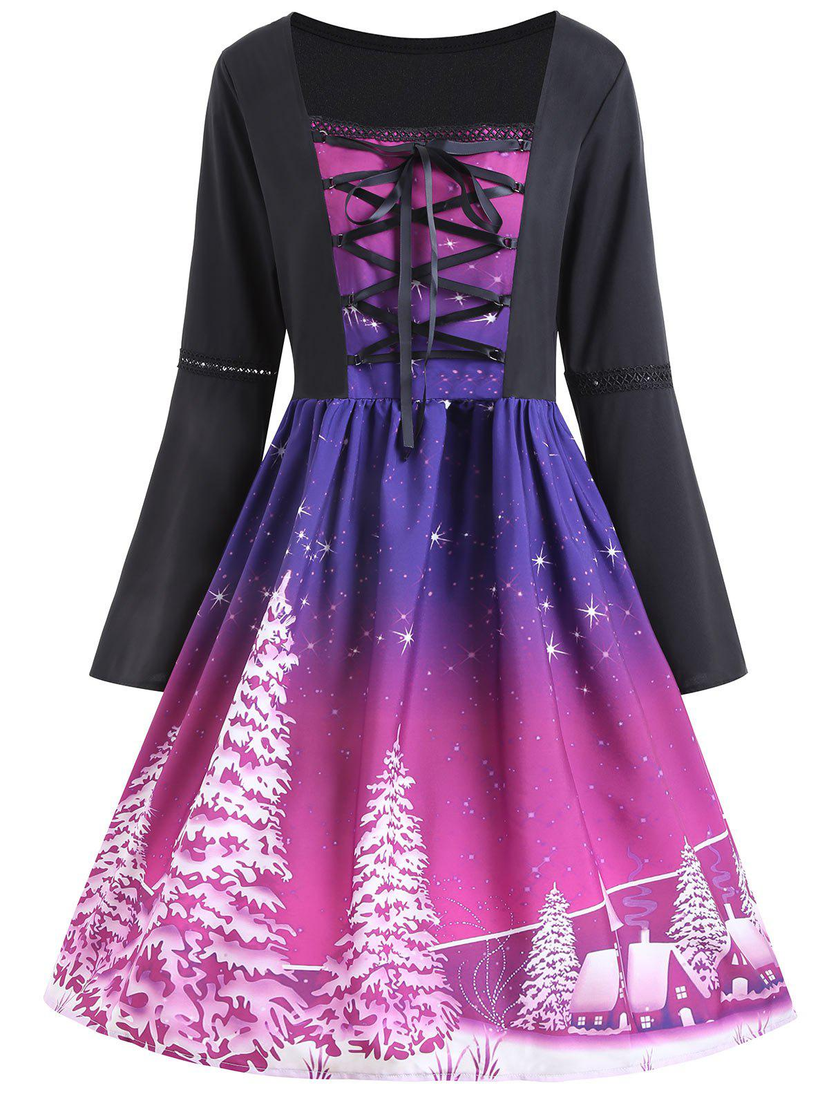 Christmas Tree Print Plus Size Lace Up DressWOMEN<br><br>Size: 2XL; Color: PURPLE; Style: Vintage; Material: Cotton,Polyester; Silhouette: A-Line; Dresses Length: Knee-Length; Neckline: Square Collar; Sleeve Type: Flare Sleeve; Sleeve Length: Long Sleeves; Embellishment: Criss-Cross,Lace; Pattern Type: Plant; With Belt: No; Season: Fall,Spring; Weight: 0.3200kg; Package Contents: 1 x Dress;