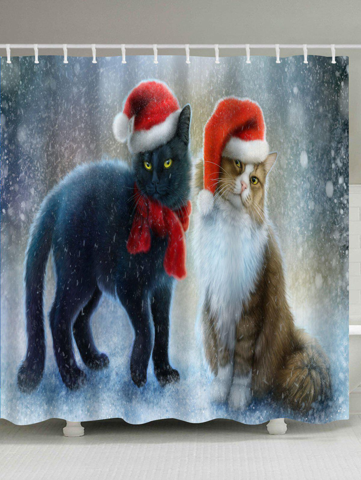 Christmas Cat Partner Printed Waterproof Bath CurtainHOME<br><br>Size: W71 INCH * L71 INCH; Color: COLORMIX; Products Type: Shower Curtains; Materials: Polyester; Pattern: Animal; Style: Festival; Number of Hook Holes: W59 inch*L71 inch: 10; W71 inch*L71 inch: 12; W71 inch*L79 inch: 12; Package Contents: 1 x Shower Curtain 1 x Hooks (Set);