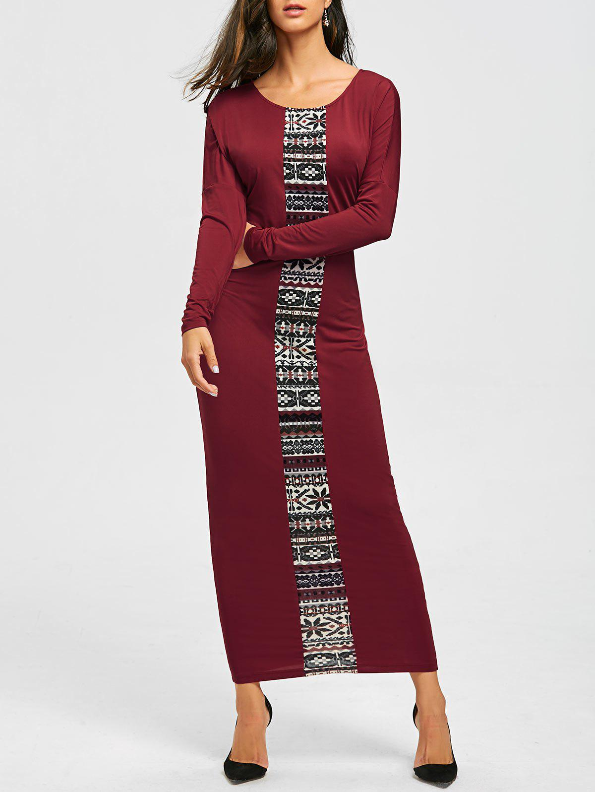 Store Long Sleeve Tribal Print Maxi Tee Dress