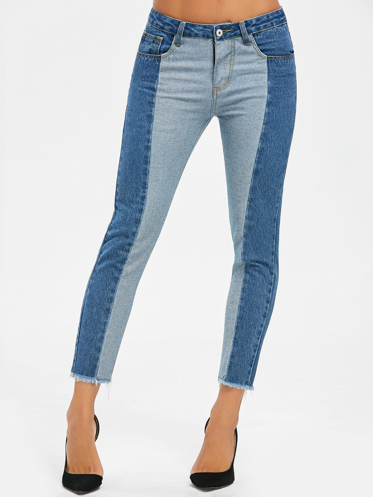 Cheap Two Tone Raw Hem Crop Jeans