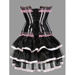 Two Piece Plus Size Ruffles Corset Dress - PINK 4XL