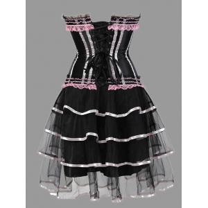 Plus Size Tier Flounce Two Piece Corset Dress - PINK 4XL