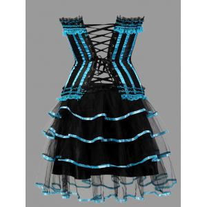 Plus Size Tier Flounce Two Piece Corset Dress - LIGHT BLUE 5XL