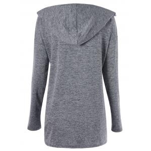 Drop Shoulder Ruched Plus Size Hoodie - GRAY XL
