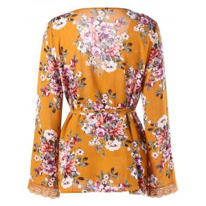 Lace Trim Long Sleeve Floral Surplice Blouse -
