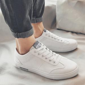 Zigzag Embroidered Low Top Skate Shoes - WHITE 43