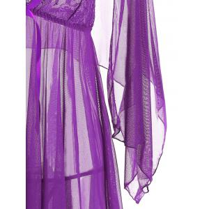 Mesh Sheer Slip Babydoll - PURPLE L