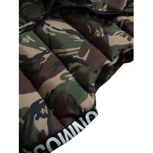 Zip Up Hooded Camo Quilted Vest - ARMY GREEN XL