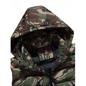 Zip Up Hooded Camo Quilted Vest - GRAY 3XL