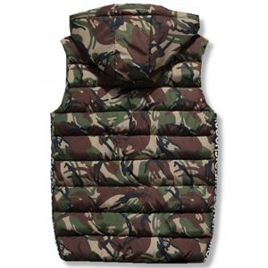 Zip Up Hooded Camo Quilted Vest - ARMY GREEN 2XL