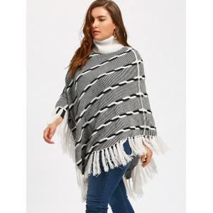 Turtleneck Tassel Plus Size Stripe Poncho Sweater -