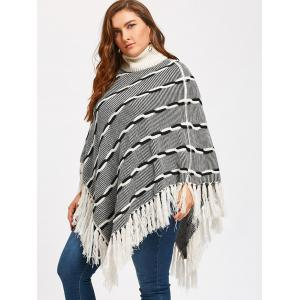 Turtleneck Tassel Plus Size Stripe Poncho Sweater - WHITE + GREY 4XL