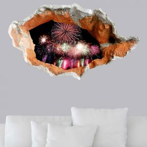 3D Hole Fireworks Floor Decal Waterproof Wall Sticker - COLORFUL