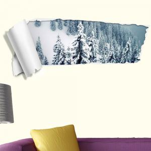 3D Snow Forest Removable Wall Decal -