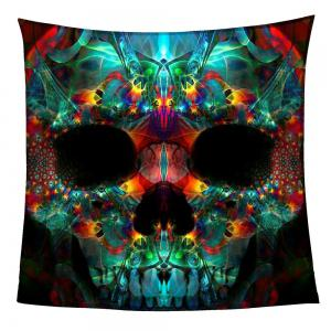 Coral Fleece Halloween Colored Skull Print Blanket - COLORFUL W59 INCH * L79 INCH
