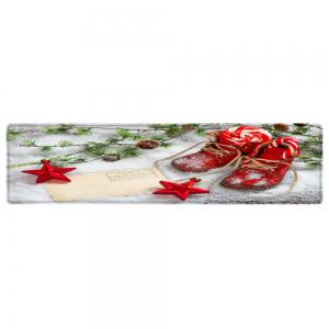 Christmas Snowfield Shoes Pattern Anti-skid Water Absorption Area Rug -