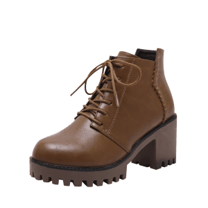 Side Zip Lug Sole Ankle Boots - Brun 39