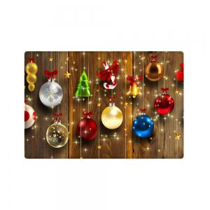 Christmas Baubles Wood Pattern Anti-skid Water Absorption Area Rug -