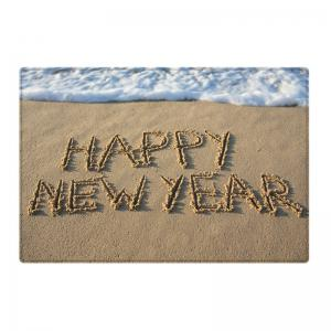 Beach Happy New Year Pattern Anti-skid Tapis de surface d'absorption d'eau -