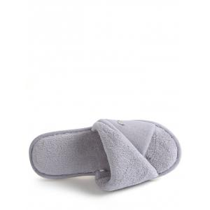Open Toe Faux Shearling Fluffy Slippers - GRAY SIZE(38-39)