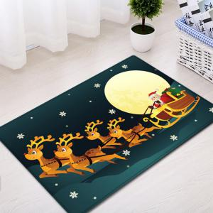 Christmas Night Deer Sleigh Pattern Anti-skid Water Absorption Area Rug - COLORMIX W16 INCH * L24 INCH