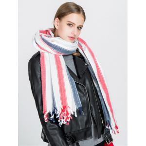 Tassel Vertical Stripe Pattern Long Scarf -