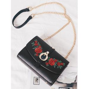 Metal Detailed Embroidery Faux Pearl Crossbody Bag -
