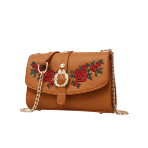 Metal Detailed Embroidery Faux Pearl Crossbody Bag - BROWN