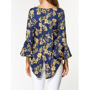 Flare Sleeve Floral Print High Low Blouse - Multicolore L