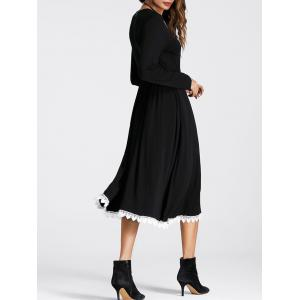Lace Panel Drawstring Waist Flowy Dress - Noir S