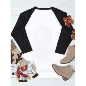 Plus Size Raglan Sleeve Santa Claus Sweatshirt - COLORMIX XL