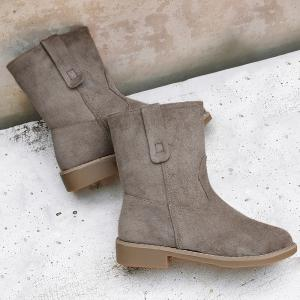 Faux Suede Slip On Ankle Boots - Kaki 37
