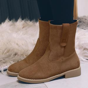 Faux Suede Slip On Ankle Boots - Curcumae 39