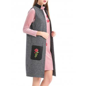 Embroidery Pockets Heathered Longline Waistcoat - GRAY S
