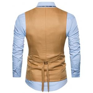 Belt Edging Single Breasted Waistcoat - KHAKI S