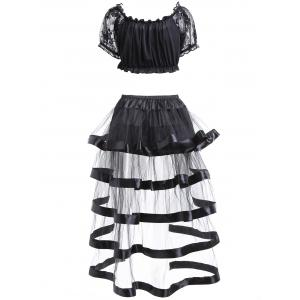 Off The Shoulder Crop Top and Ruffled Skirt - BLACK S