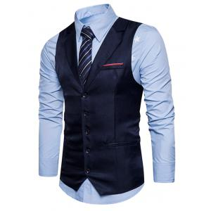 Belt Edging Single Breasted Waistcoat - CADETBLUE L