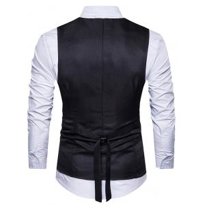 Belt Edging Single Breasted Waistcoat - BLACK XL