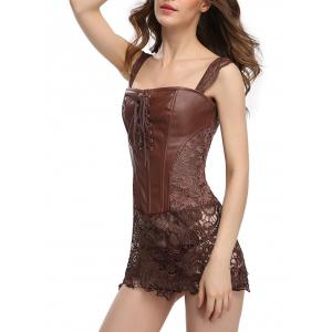 Faux Leather Lace Zip Corset Dress - BROWN L