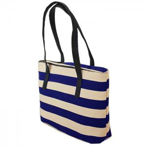 Canvas Color Block Striped Shoulder Bag -