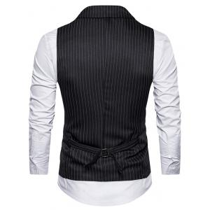 Double Breasted Belt Vertical Stripe Waistcoat - BLACK 2XL