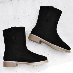 Faux Suede Slip On Ankle Boots - Noir 35