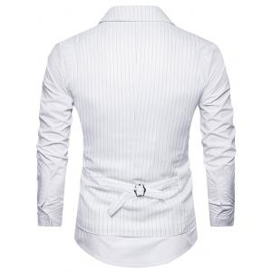 Double Breasted Belt Vertical Stripe Waistcoat - WHITE L